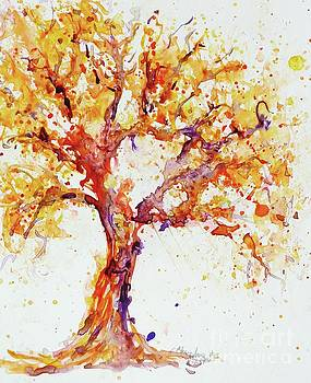 PurpleOrange Watercolor Tree by CheyAnne Sexton