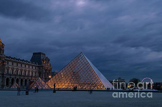 Pyramids under the night sky, Paris by Sinisa CIGLENECKI