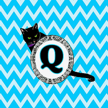 Q Cat Chevron Monogram by Paintings by Gretzky