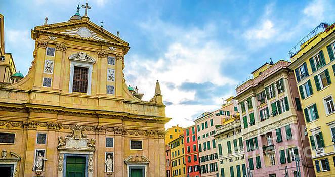 quadri di Genova colorful buildings church piazza giacomo matteotti liguria by Luca Lorenzelli