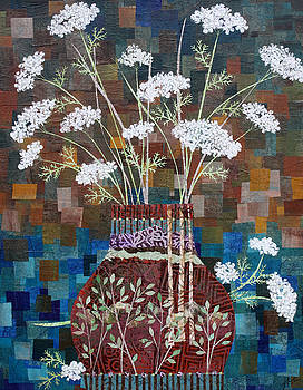 Queen Anne's Lace in Vase with Birches by Janyce Boynton
