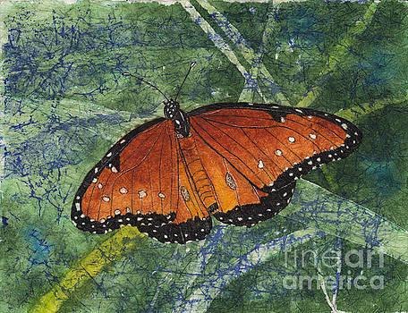 Queen Butterfly Watercolor Batik by Conni Schaftenaar