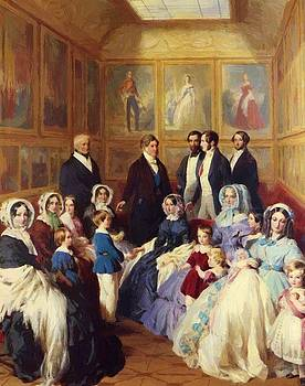 Winterhalter Franz Xaver - Queen Victoria And Prince Albert With The Family Of King Louis Philippe At The Chateau