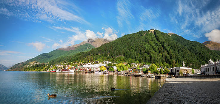 Queenstown Bay Panorama, New Zealand by Daniela Constantinescu