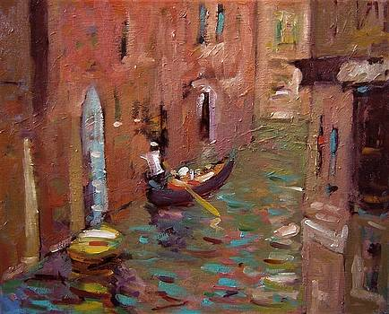 Quiet canal in Venice Italy by R W Goetting