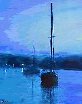 G Linsenmayer - QUIET EVENING MARYLAND CHESAPEAKE BAY DETAIL MULTIMEDIA FINE ART PAINTING