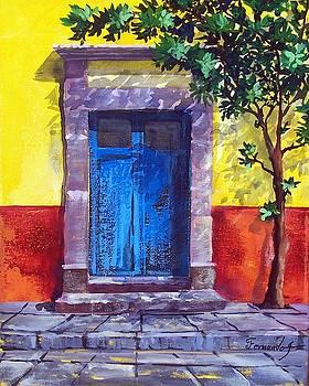 Quiet mirning blue Mexican Door  by Fernando Gonzalez