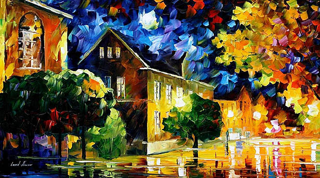 Quiet Town 2 - PALETTE KNIFE Oil Painting On Canvas By Leonid Afremov by Leonid Afremov