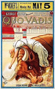 Quo Vadis, Lygia bound to the wild bull, movie poster, 1913 by Vintage Printery