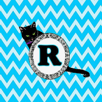 R Cat Chevron Monogram by Paintings by Gretzky