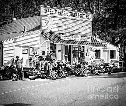 Rabbit Hash Store-Front View Bikers BW by Mary Carol Story