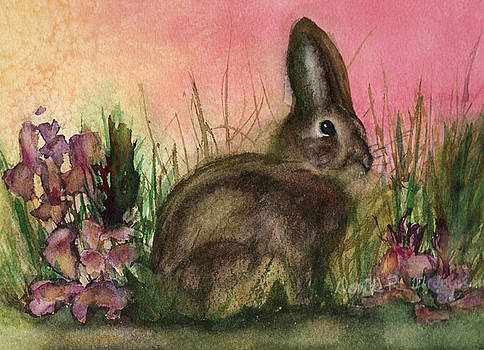 Rabbit in Flowers by Denice Palanuk Wilson