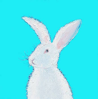 Jan Matson - Rabbit Painting - White bunny on blue