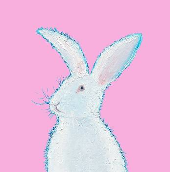 Jan Matson - Rabbit Painting - White bunny on pink