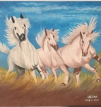 Race horses by Mimi Eskenazi