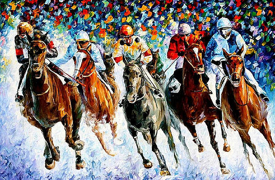 Race On The Snow - PALETTE KNIFE Oil Painting On Canvas By Leonid Afremov by Leonid Afremov