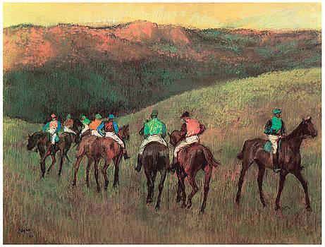 Edgar Degas - Racehorses in a Landscape