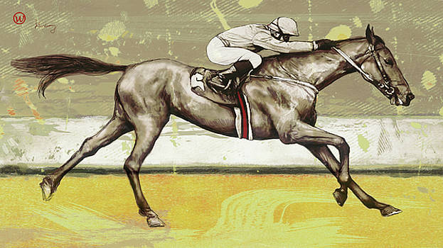 Racing Horse Pop Art Poser by Kim Wang