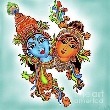 Radha with her Krishna by Latha Gokuldas Panicker