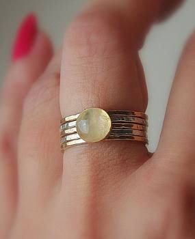 Radiating Moonstone cabochon sterling silver and 14k gold filled artisan crafted stackable rings by Nadina Giurgiu