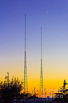 Radio Towers Sunset by G Matthew Laughton