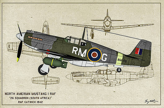 RAF Mustang 1 Profile Art by Tommy Anderson