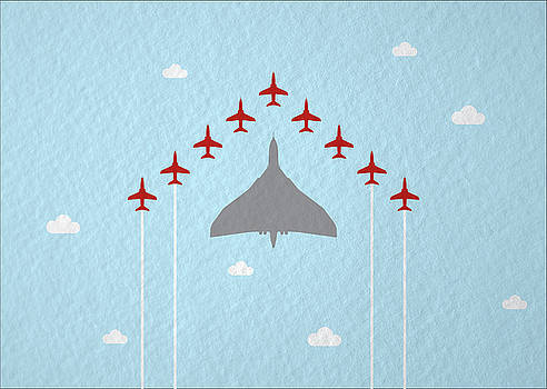 RAF Red Arrows in formation with Vulcan Bomber by Samuel Whitton