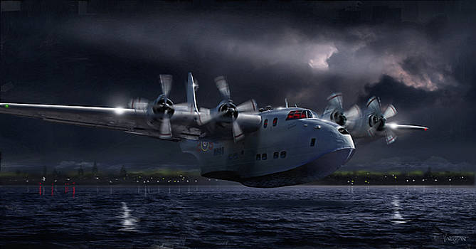 RAF Short Solent Full Moon Landing by James Vaughan