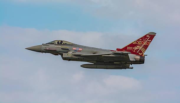 RAF Typhoon in flight at UK Airshow by David Attenborough