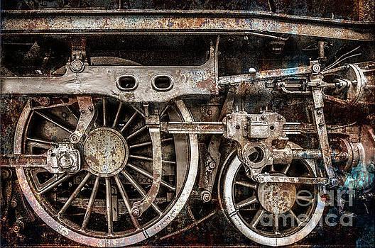 Rail Wheel Grunge Detail,  Steam Locomotive 03 by Daliana Pacuraru