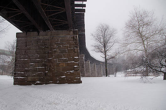 Railroad Bridge in East Falls Philadelphia in Winter by Bill Cannon
