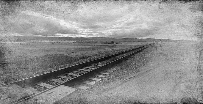 Railroad Tracks in Black and White by Angie Tirado