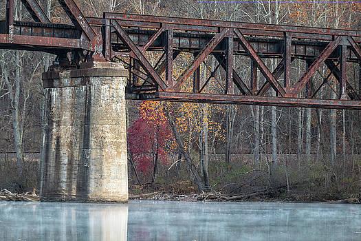 Railroad Trestle and fall trees by Steve Konya II