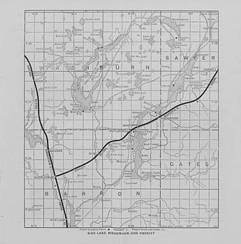 Chicago and North Western Historical Society - Railway Map of Northern Wisconsin - Rice Lake and Birchwood