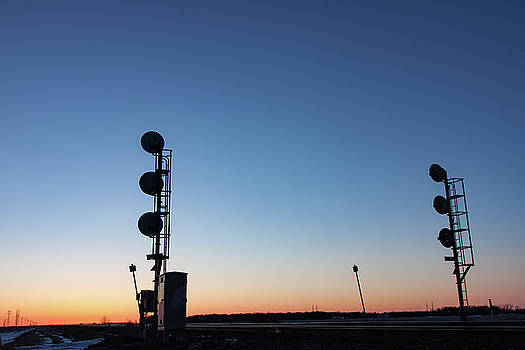 Railway Signal Towers at Sunset by Steve Boyko