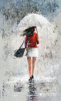 Rain Girl A Red Sweater Day by Vickie Wade