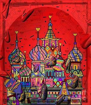 Rain in Moskau Popart by Nico Bielow by Nico Bielow