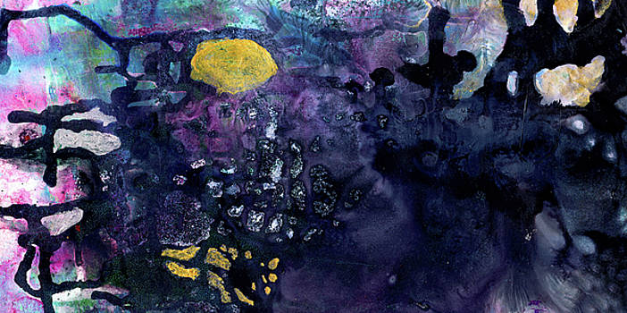 Rain On A Sunny Day - Colorful Dark Contemporary Abstract by Modern Abstract