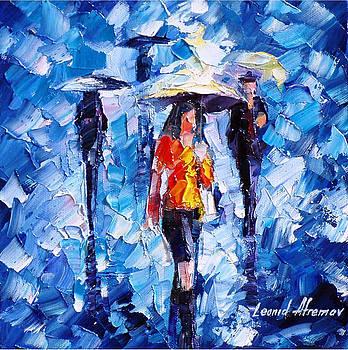 Rain Women - PALETTE KNIFE Oil Painting On Canvas By Leonid Afremov by Leonid Afremov