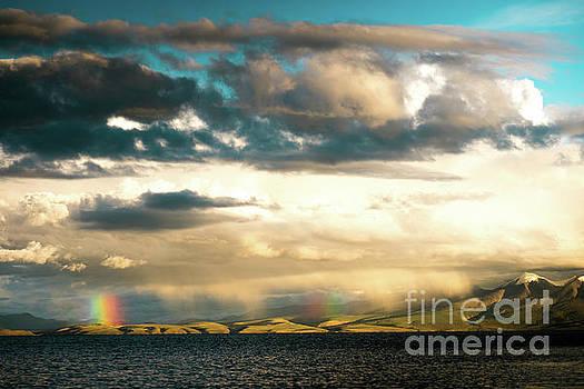 Rainbow above Lake Manasarovar Kailas Yantra.lv by Raimond Klavins