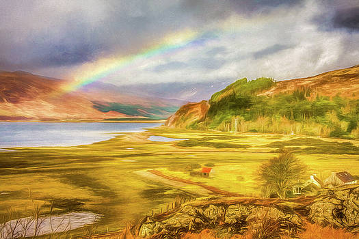 Painted effect - Rainbow across the valley by Susan Leonard