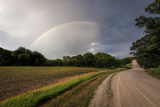 Rainbow and Country Road by Scott Bean