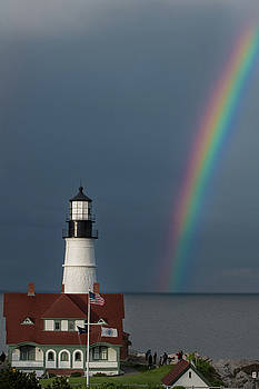 Rainbow at Portland Head Light by Jesse MacDonald