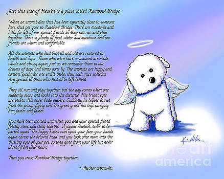 Rainbow Bridge Bichon Angel by Kim Niles