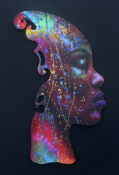 Rainbow Girl on Black by Fred Odle