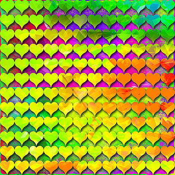 Rainbow hearts 3 by Dalia Rubin