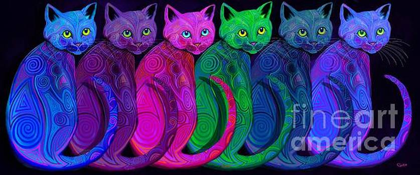 Rainbow of Tribal Cats  by Nick Gustafson