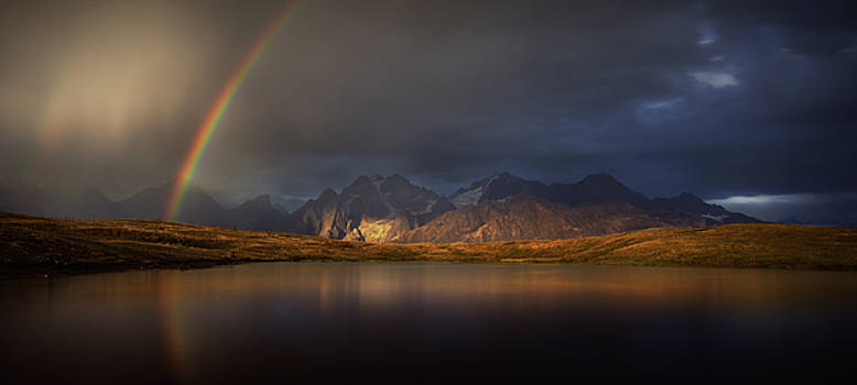 Rainbow on Koruldi lakes. Caucasus, Georgia by Sergey Ryzhkov