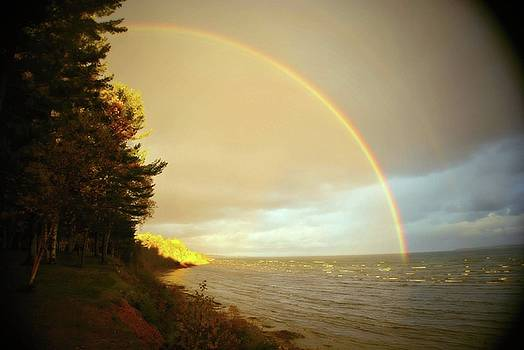 Rainbow on Lake Huron Michigan by Marysue Ryan