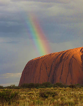Rainbow on Uluru by Helaine Cummins